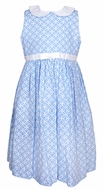 Frances Johnston Girls Blue Geometric Print Sleeveless Dress - White Collar - Bow & Sash