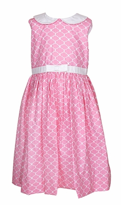 Frances Johnston Girls Hot Pink Quatrefoil Sleeveless Dress - White Collar - Bow & Sash