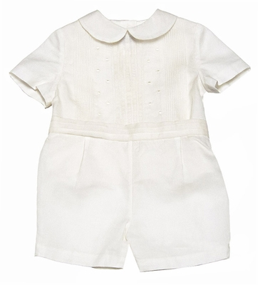 Luli & Me Infant / Toddler Boys Dressy Ivory Silk Organza Special Occasion Outfit