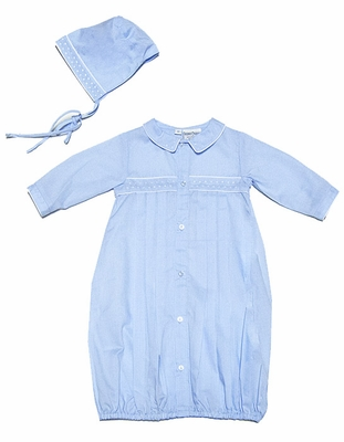 Friedknit Creations Baby Boys Light Blue Gown with Hat