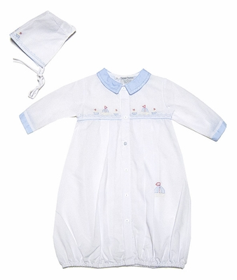 Friedknit Creations Infant Baby Boys White Gown with Hat - Shadow Stitch Embroidered Blue Sailboats