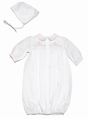 Friedknit Creations Newborn Baby Girls White Gown with Pink Shadow Stitch Embroidery Bows & Bonnet