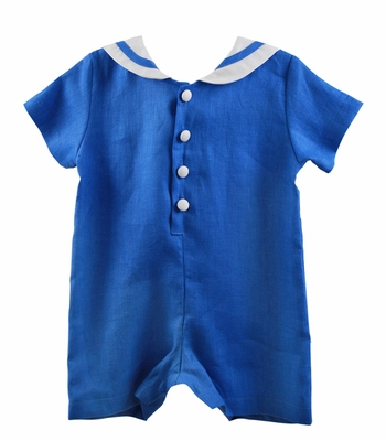 Funtasia Baby Boys Linen Sailor Suit Romper - French Blue