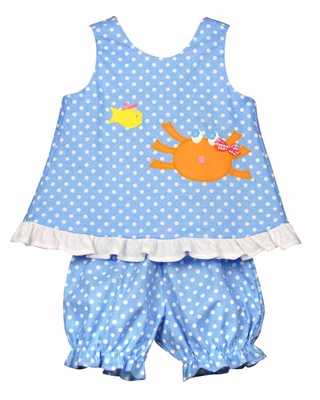 Funtasia Baby Girls Blue / White Dots Orange Crab Bloomers Set