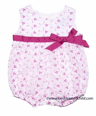 Funtasia Baby Girls White Eyelet Bubble with Hot Pink Embroidery and Bow