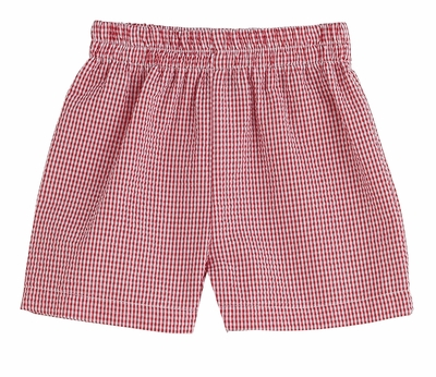 Funtasia Color Works Boys Pull On Shorts - Seersucker - Red Checks
