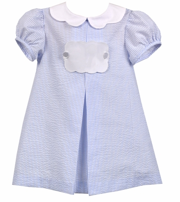 Funtasia Baby / Toddler Girls Blue Stripe Seersucker Float Dress with Tab