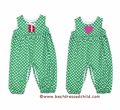 Funtasia Baby / Toddler Girls Green Dots Romper - Red Christmas Gift / Pink Valentine Heart