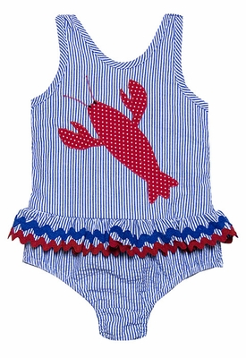 Funtasia Girls Blue / Red Lobster Ruffle Swimsuit - One Piece