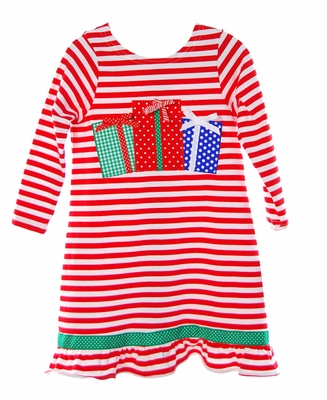 Funtasia Girls Red Candy Cane Striped Knit Dress with Christmas Presents