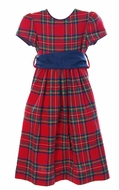 Funtasia Girls Red Christmas Holiday Plaid Dress with Blue Sash