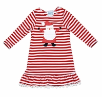Funtasia Girls Red Striped Knit Christmas Dress with Pom Poms and Santa Claus