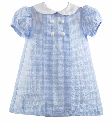 Funtasia Girls Seersucker Dress - Buttons and Collar - Light Blue Gingham
