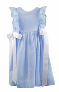 Funtasia Girls Seersucker Ruffle Pinafore Dress with White Bows - Light Blue Gingham