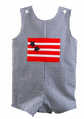 Funtasia Too Baby / Toddler Boys Navy Blue Check Seersucker Patriotic Flag Shortall