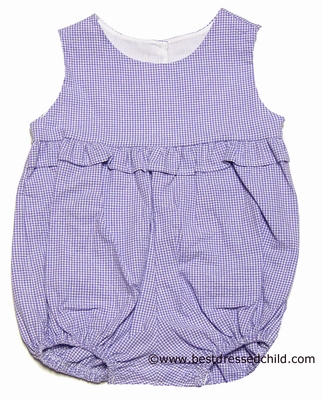 Funtasia Color Works Baby / Toddler Girls Seersucker Ruffle Bubble - Lavender Gingham