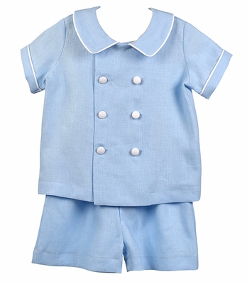 Funtasia Too Boys Blue Linen Blend Double Breasted Short Set
