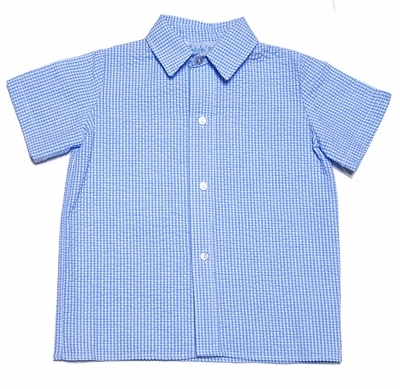 Funtasia Too Boys Blue Seersucker Dress Shirt