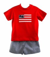 Funtasia Too Boys Navy Blue Check Seersucker Shorts with Red Patriotic Flag Shirt