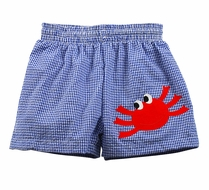Funtasia Too Boys Navy Blue Seersucker Swim Trunks with Red Crab