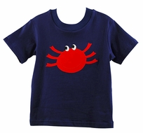 Funtasia Too Boys Navy Blue Shirt with Red Crab Applique