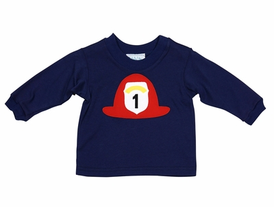 Funtasia Too Boys Navy Blue Shirt with Red Firefighter #1 Hat