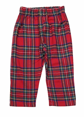 Funtasia Too Boys Red Christmas Holiday Tartan Plaid Pull On Pants