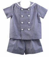 Funtasia Too Boys Seersucker Sailor Suit Shorts Set - Navy Blue