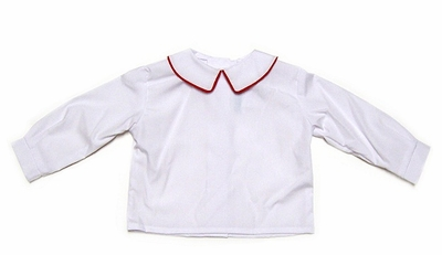 Funtasia Too Boys White Dress Shirts - Long Sleeves - Red Piping on Collar
