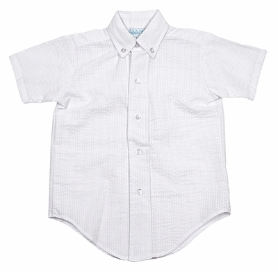 Funtasia Too Boys White Seersucker Button Down Shirt