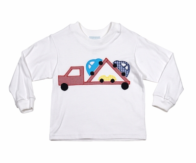 Funtasia too boys white shirt with red car carrier truck applique