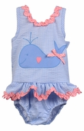 Funtasia Too Girls Blue Check Seersucker Swimsuit with Whale - One Piece