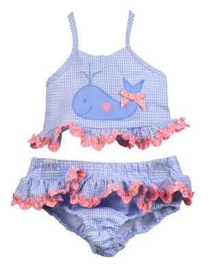Funtasia Too Girls Blue Check Seersucker Swimsuit with Whale - Two Piece