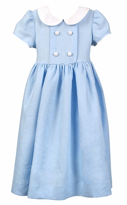 Funtasia Too Girls Blue Linen Blend Double Breasted Dress with Collar