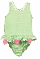 Funtasia Too Girls Green Check Seersucker Strawberry Ruffle Swimsuit - One Piece