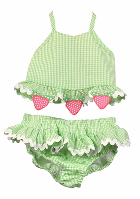 Funtasia Too Girls Green Check Seersucker Strawberry Ruffle Swimsuit - Two Piece