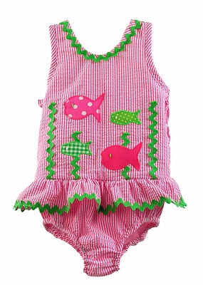 Funtasia Too Girls Hot Pink Seersucker Ruffle Swimsuit with Green / Pink Fish