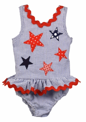 Funtasia Too Girls Navy Blue Seersucker Ruffle Swimsuit with Stars - One Piece