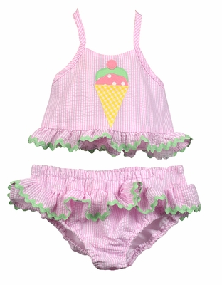 Funtasia Too Girls Pink Check Seersucker Ruffle Swimsuit with Ice Cream Cone - Two Piece