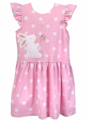 Funtasia Too Girls Pink / White Dots Knit Easter Bunny Dress
