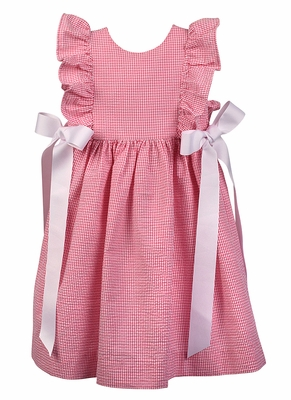 Funtasia Too Girls Ruffle Pinafore Dress with White Bows - Hot Pink Check Seersucker
