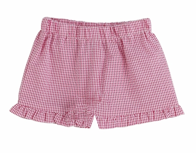 Color Works by Funtasia Girls Ruffle Shorts - Seersucker - Hot Pink
