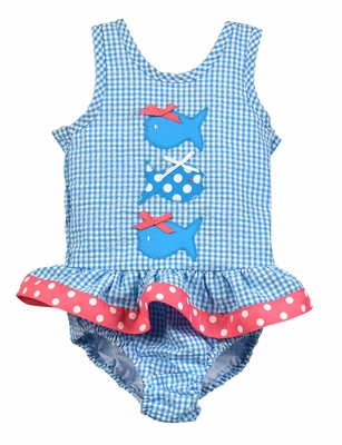 Funtasia Too Girls Turquoise Check Seersucker Swimsuit with Fish - One Piece