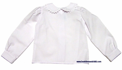 Funtasia Too Girls White Long Sleeve Blouse With Peter Pan Collar