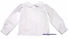 Funtasia Too Girls White Blouse - Peter Pan Collar and Long Sleeves - Rick Rack Trim