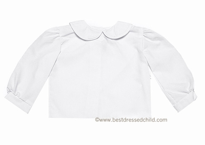 Funtasia Too Girls White Blouse with Peter Pan Collar - Long Sleeves / White Piping