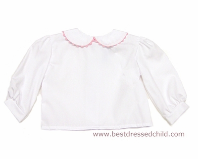 Funtasia Too Girls White Long Sleeved Blouse with Peter Pan Collar and Pink Rick Rack