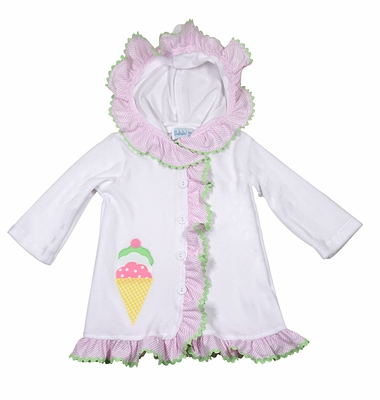 69b9d7aaac Funtasia Too Girls White Terry Cover Up with Hood - Pink Check Ruffle Trim  and Ice Cream Cone