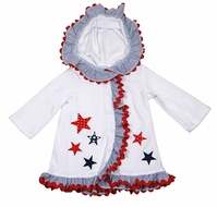 Funtasia Too Girls White Terry Cover Up with Hood and Patriotic Stars