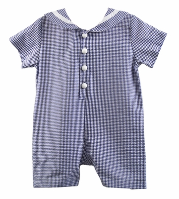 Funtasia Too Infant Boys Seersucker Sailor Suit Romper - Navy Blue